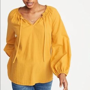 NWOT Old Navy Lightweight Yellow Tie-Neck Blouse